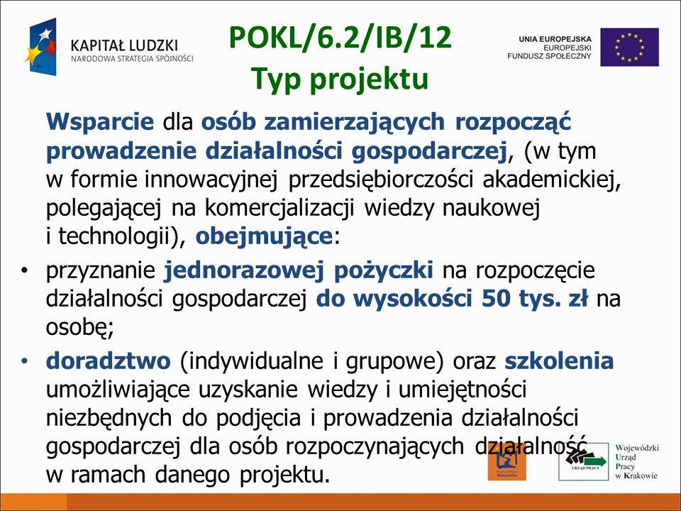 POKL/6.2/IB/12 Typ projektu
