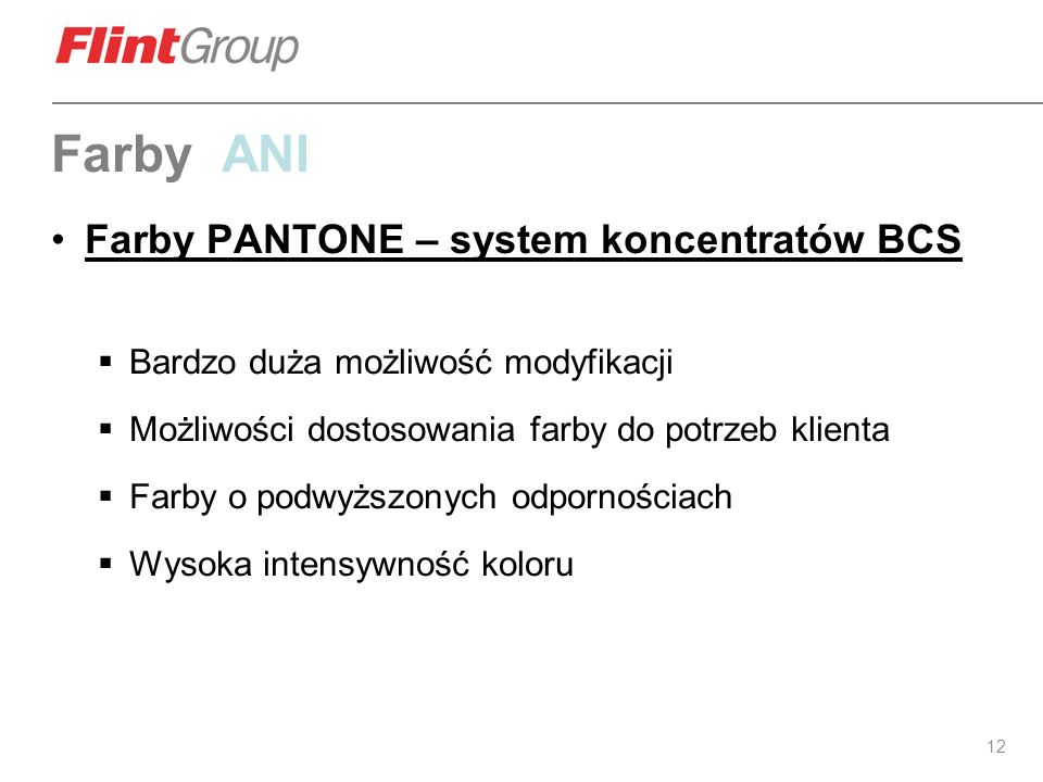 Farby ANI Farby PANTONE – system koncentratów BCS