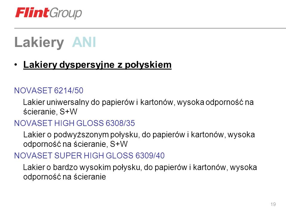 Lakiery ANI Lakiery dyspersyjne z połyskiem NOVASET 6214/50