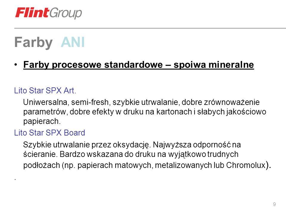 Farby ANI Farby procesowe standardowe – spoiwa mineralne
