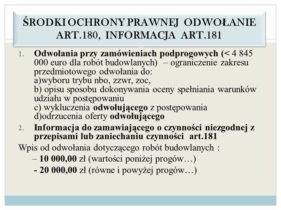 ŚRODKI OCHRONY PRAWNEJ ODWOŁANIE ART.180, INFORMACJA ART.181
