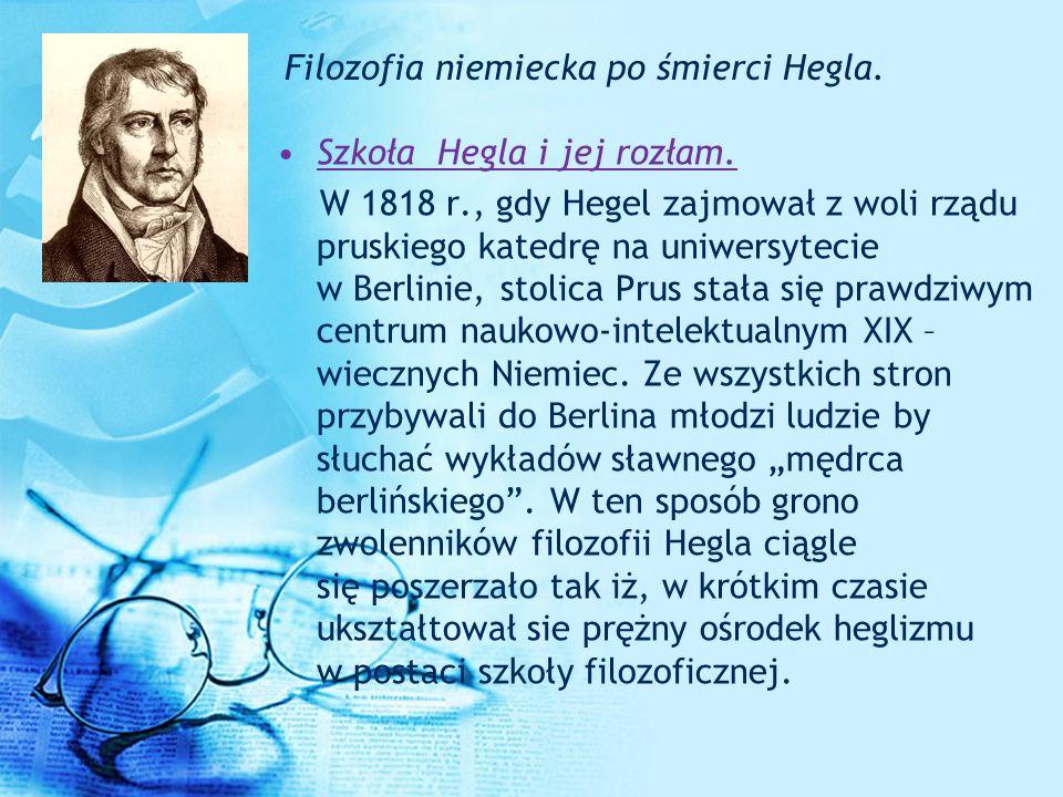 Filozofia niemiecka po śmierci Hegla.