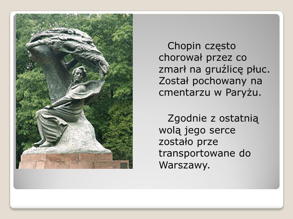 Chopin często chorował przez co zmarł na gruźlicę płuc