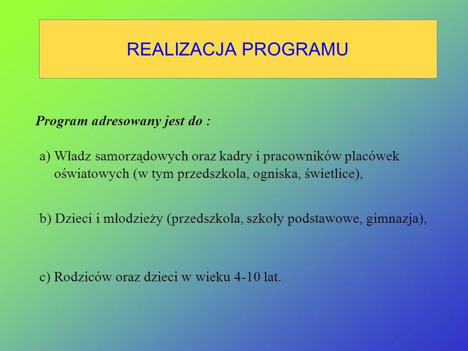 REALIZACJA PROGRAMU Program adresowany jest do :