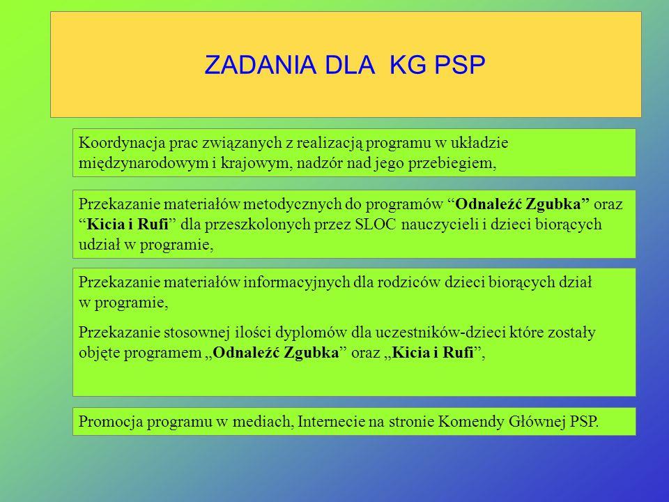 ZADANIA DLA KG PSP Koordynacja prac związanych z realizacją programu w układzie międzynarodowym i krajowym, nadzór nad jego przebiegiem,