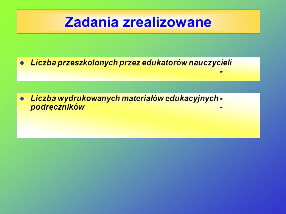 Zadania zrealizowane Liczba przeszkolonych przez edukatorów nauczycieli - Liczba wydrukowanych materiałów edukacyjnych - podręczników -