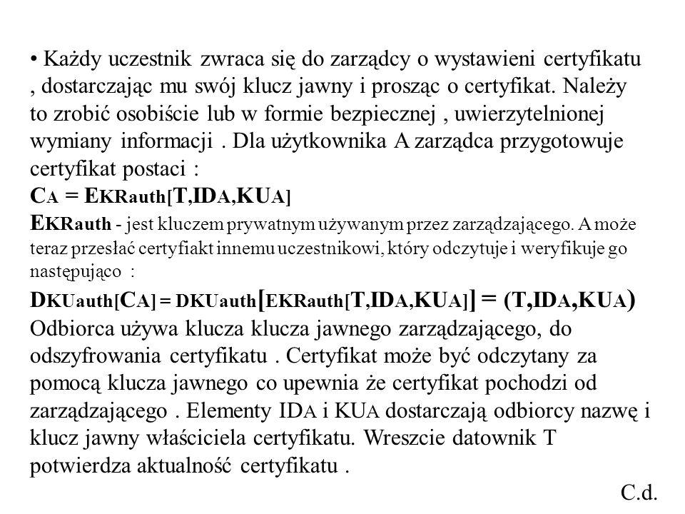 Każdy uczestnik zwraca się do zarządcy o wystawieni certyfikatu