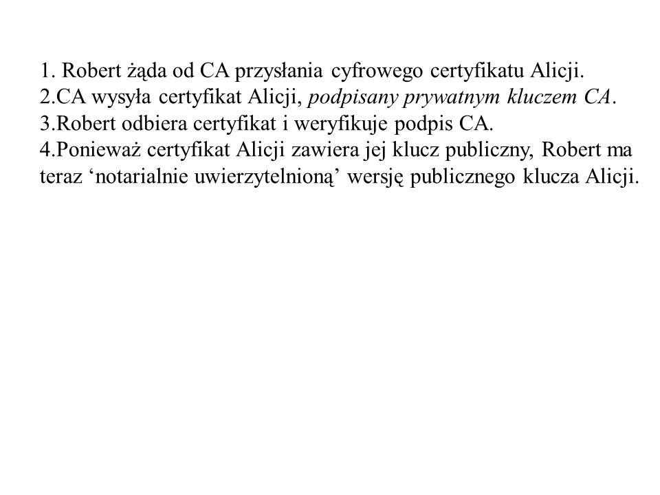 1. Robert żąda od CA przysłania cyfrowego certyfikatu Alicji.