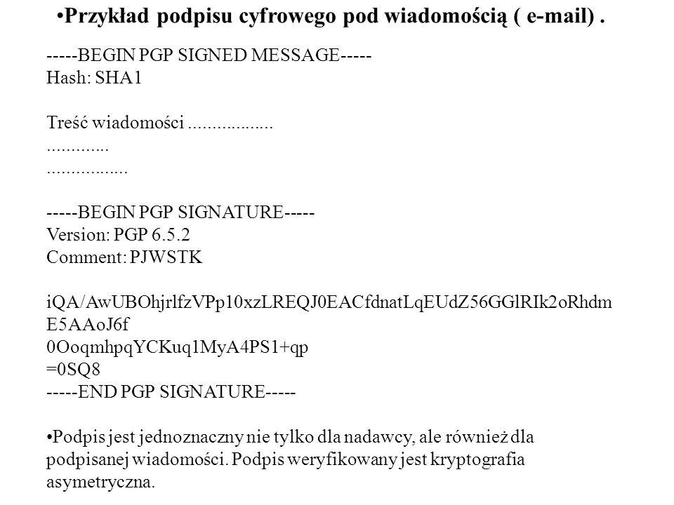 Przykład podpisu cyfrowego pod wiadomością ( e-mail) .