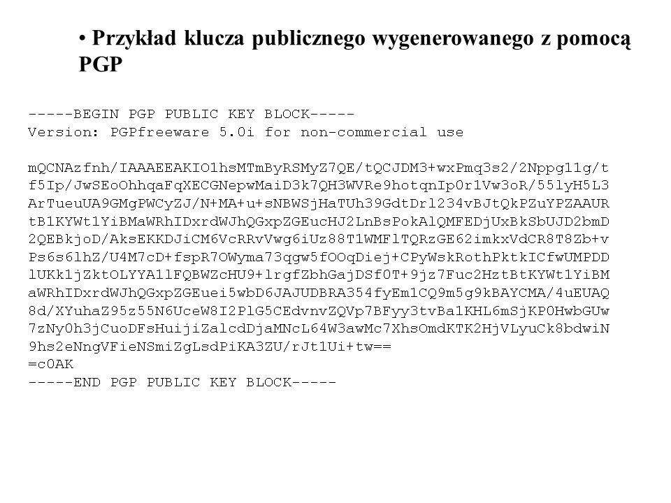 Przykład klucza publicznego wygenerowanego z pomocą