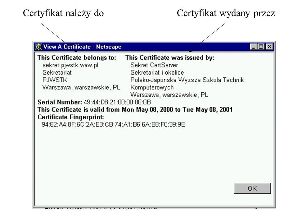 Certyfikat należy do Certyfikat wydany przez