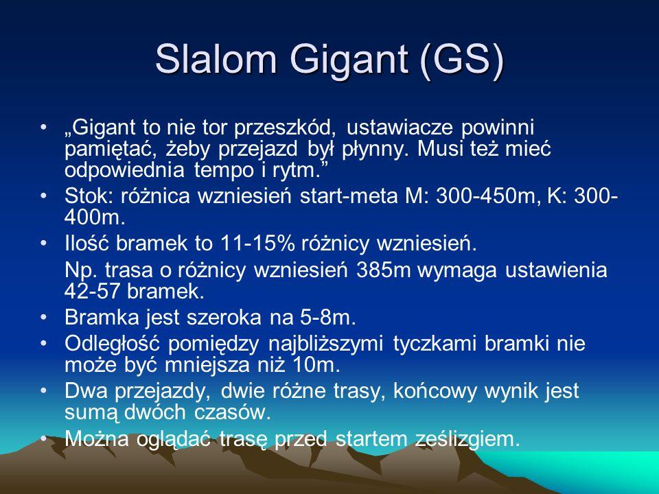 """Slalom Gigant (GS) """"Gigant to nie tor przeszkód, ustawiacze powinni pamiętać, żeby przejazd był płynny. Musi też mieć odpowiednia tempo i rytm."""