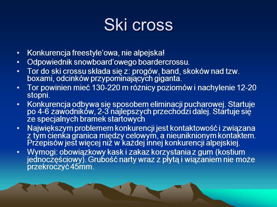 Ski cross Konkurencja freestyle'owa, nie alpejska!