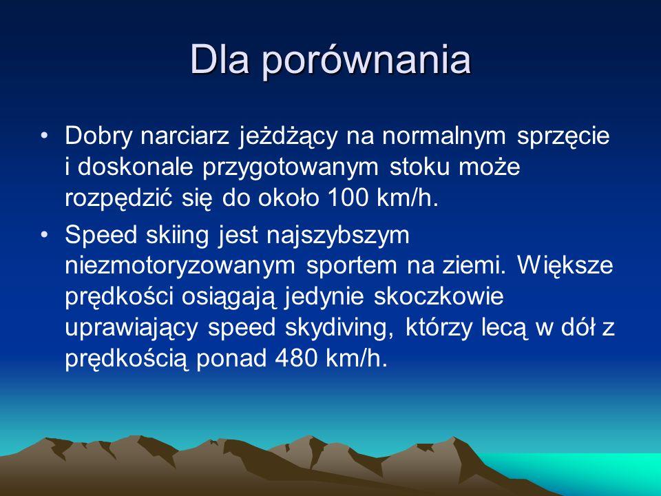 Dla porównaniaDobry narciarz jeżdżący na normalnym sprzęcie i doskonale przygotowanym stoku może rozpędzić się do około 100 km/h.