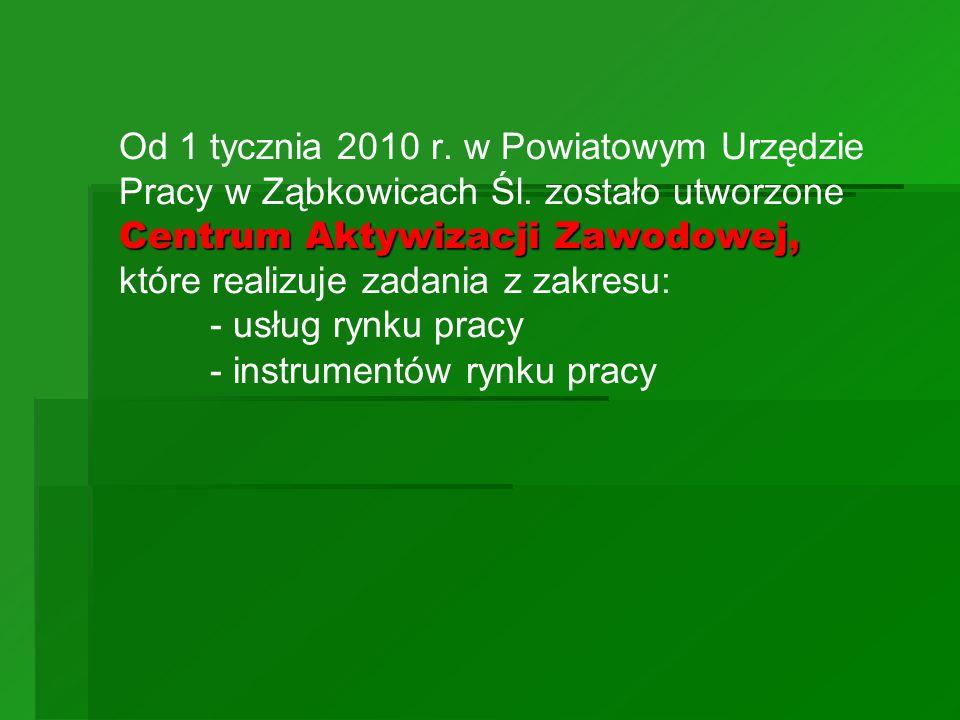Od 1 tycznia 2010 r. w Powiatowym Urzędzie Pracy w Ząbkowicach Śl