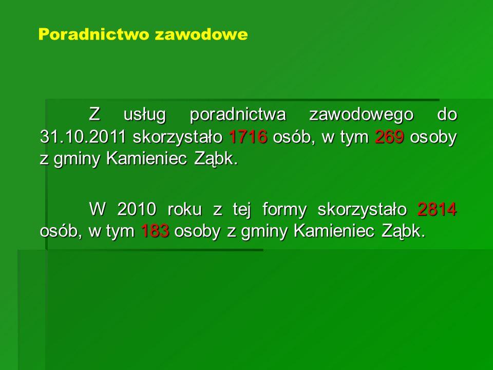 Poradnictwo zawodowe Z usług poradnictwa zawodowego do 31.10.2011 skorzystało 1716 osób, w tym 269 osoby z gminy Kamieniec Ząbk.