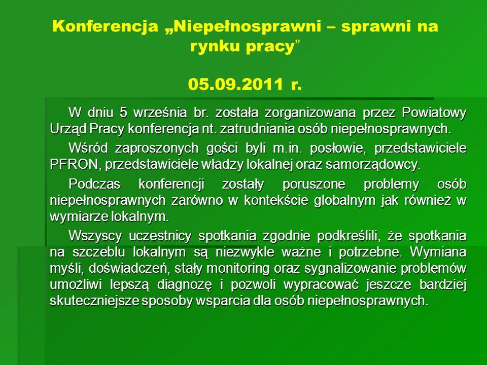 """Konferencja """"Niepełnosprawni – sprawni na rynku pracy 05.09.2011 r."""