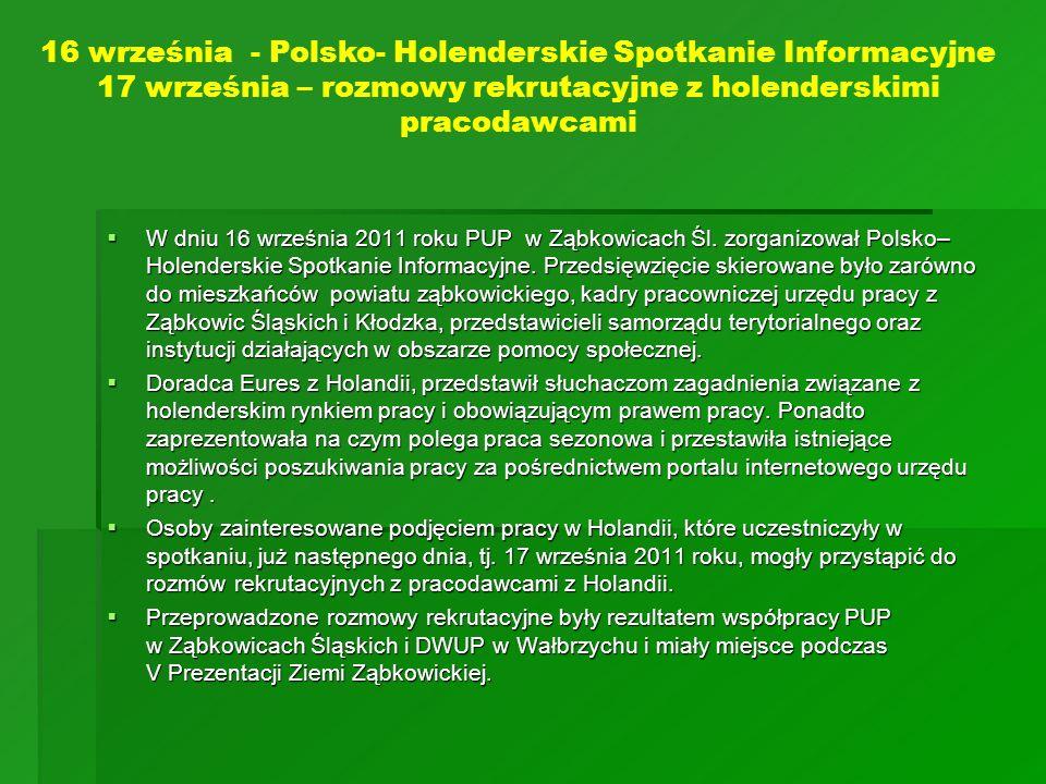16 września - Polsko- Holenderskie Spotkanie Informacyjne 17 września – rozmowy rekrutacyjne z holenderskimi pracodawcami