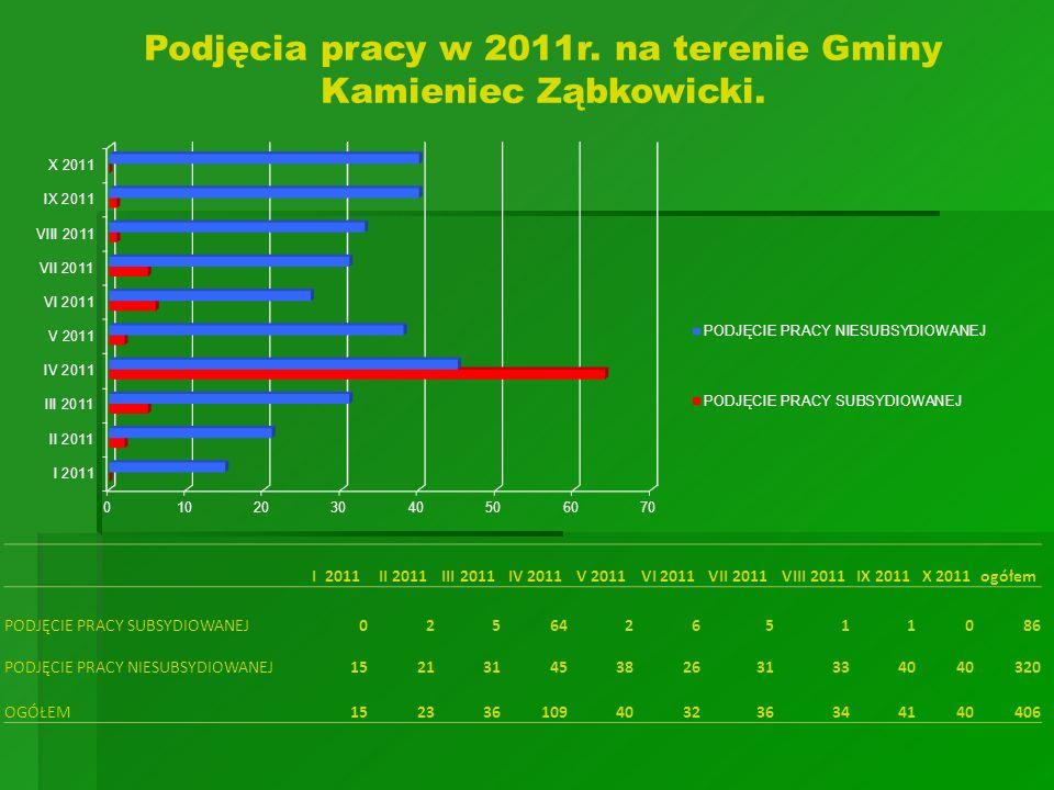Podjęcia pracy w 2011r. na terenie Gminy Kamieniec Ząbkowicki.