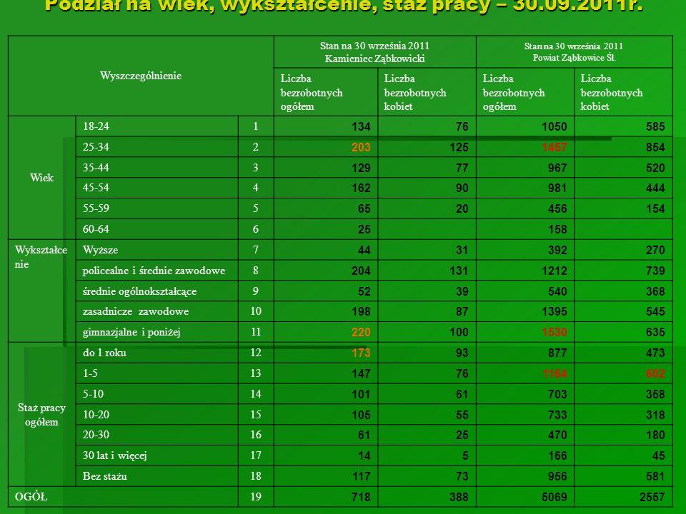 Podział na wiek, wykształcenie, staż pracy – 30.09.2011r.