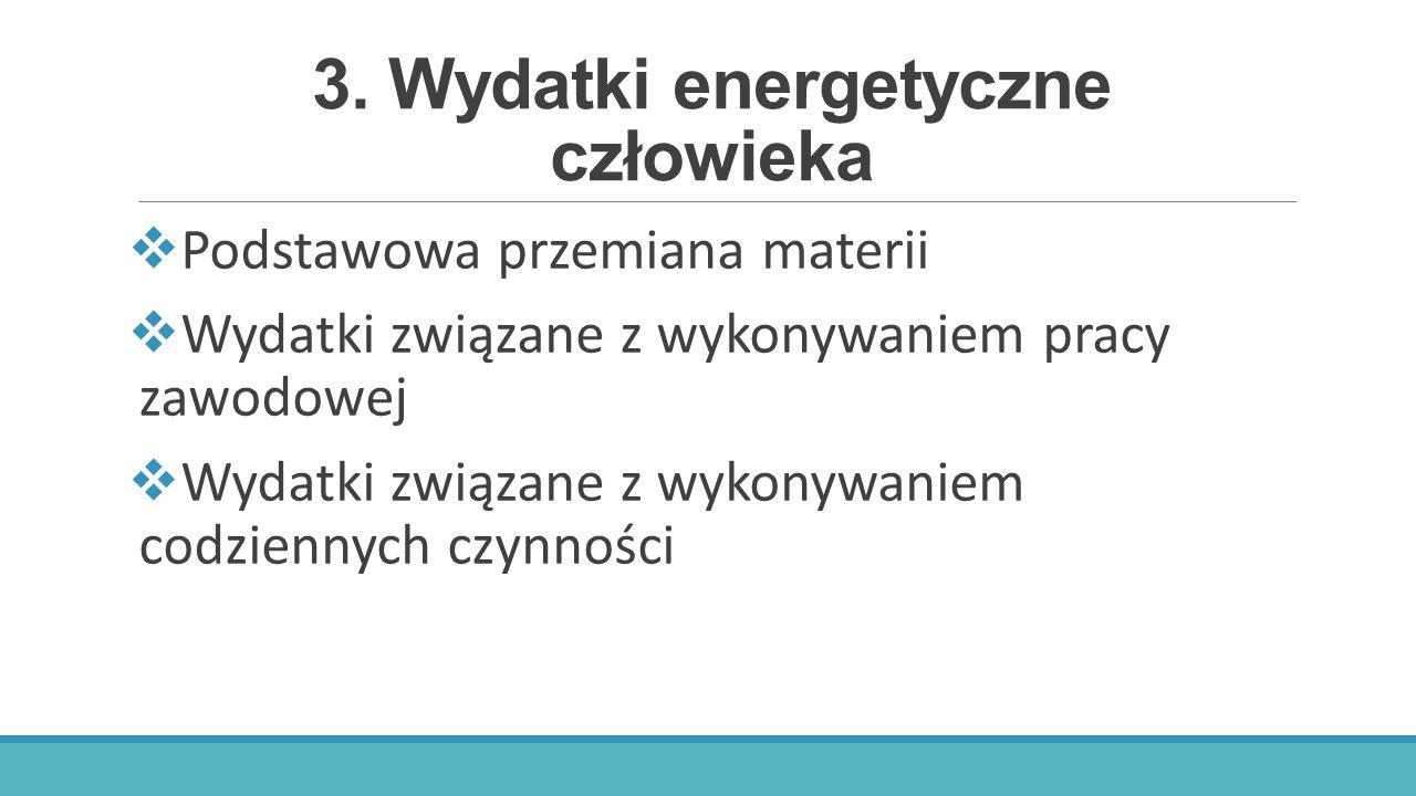 3. Wydatki energetyczne człowieka