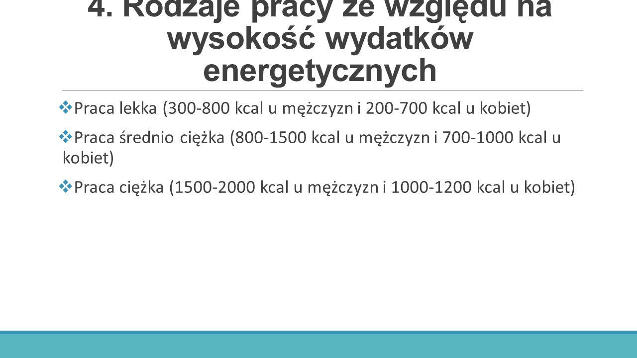 4. Rodzaje pracy ze względu na wysokość wydatków energetycznych