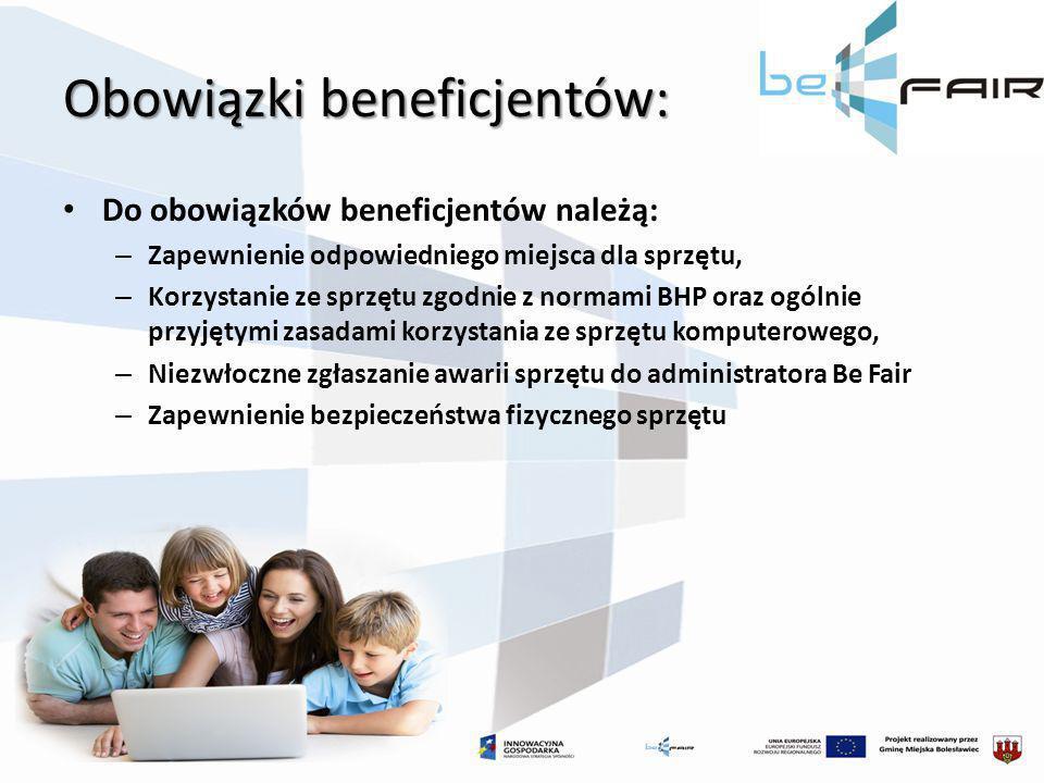 Obowiązki beneficjentów: