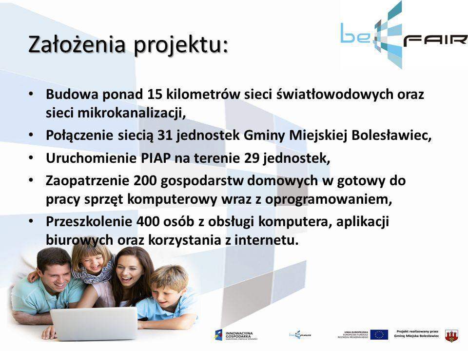 Założenia projektu:Budowa ponad 15 kilometrów sieci światłowodowych oraz sieci mikrokanalizacji,