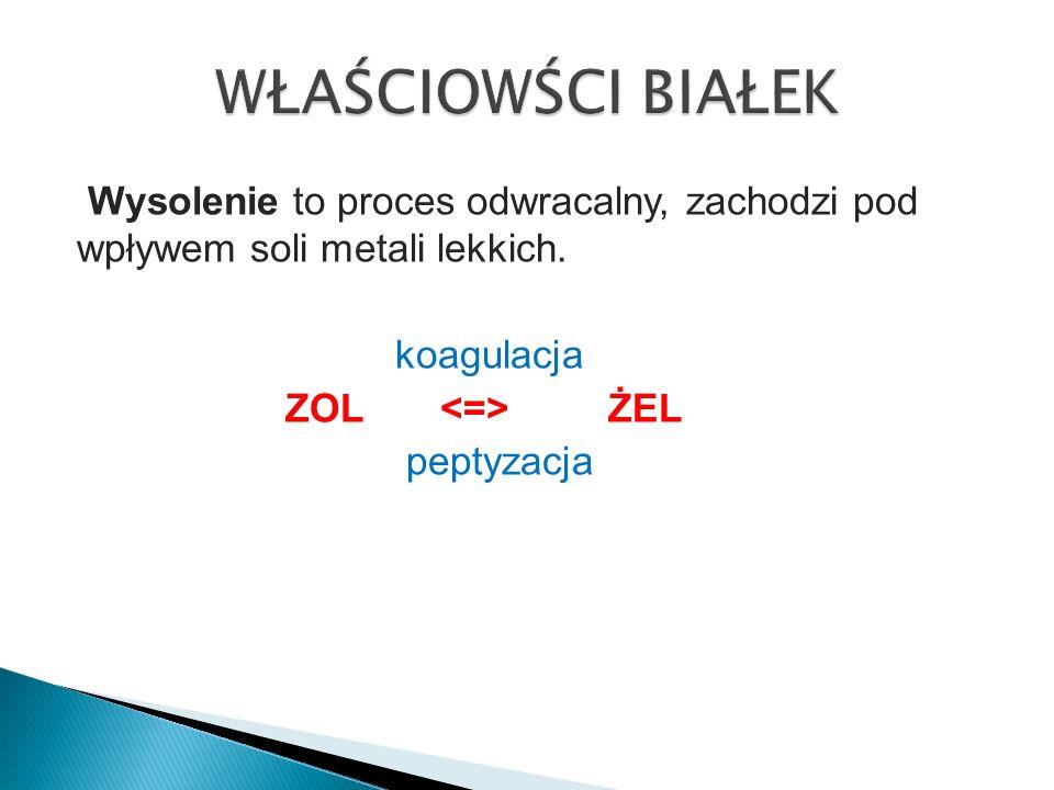 WŁAŚCIOWŚCI BIAŁEK Wysolenie to proces odwracalny, zachodzi pod wpływem soli metali lekkich.