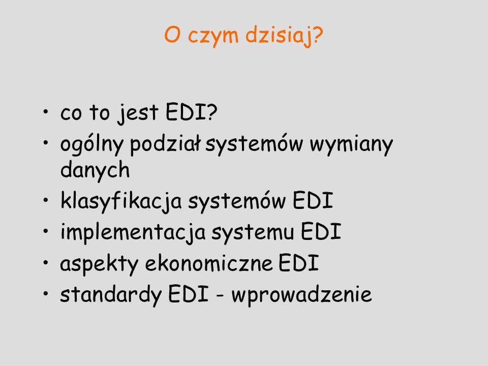 O czym dzisiaj co to jest EDI ogólny podział systemów wymiany danych. klasyfikacja systemów EDI.