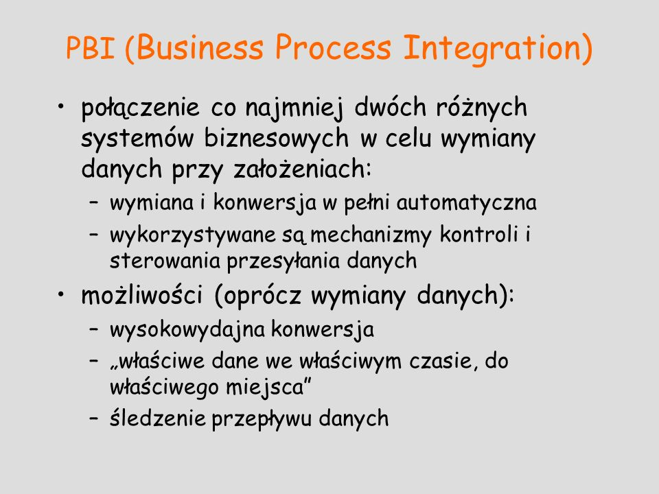 PBI (Business Process Integration)