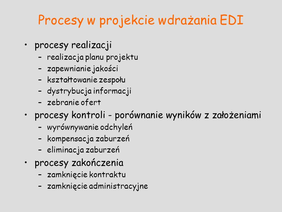 Procesy w projekcie wdrażania EDI