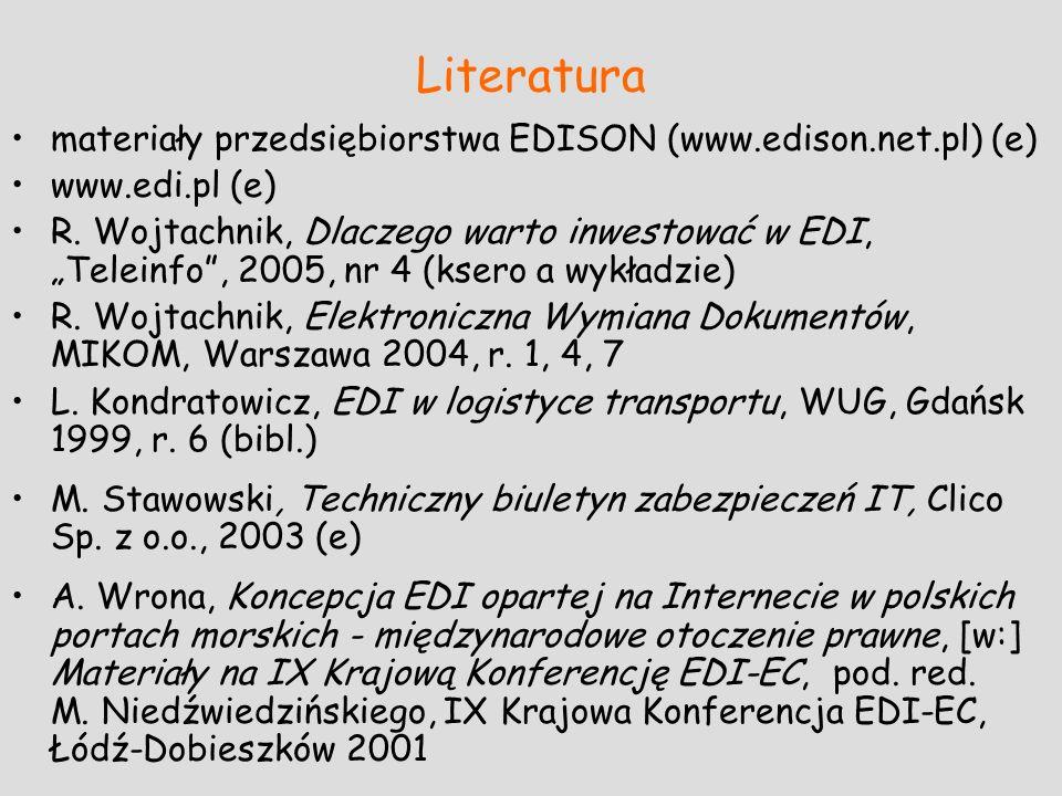 Literatura materiały przedsiębiorstwa EDISON (www.edison.net.pl) (e)