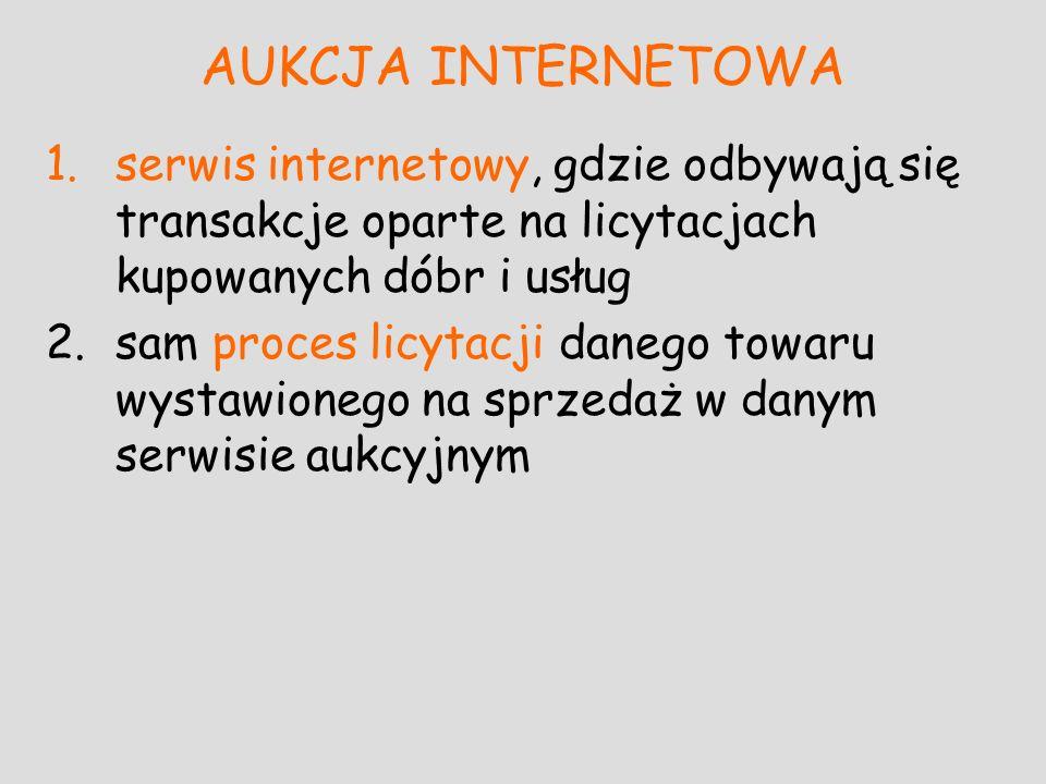 AUKCJA INTERNETOWA serwis internetowy, gdzie odbywają się transakcje oparte na licytacjach kupowanych dóbr i usług.