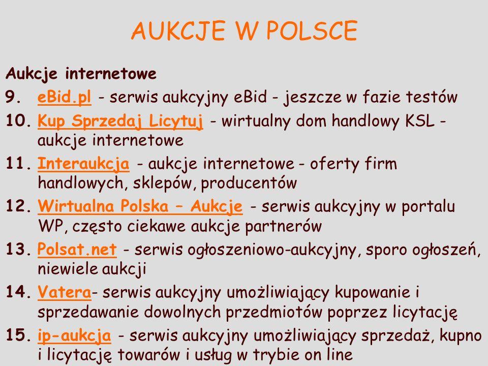 AUKCJE W POLSCE Aukcje internetowe