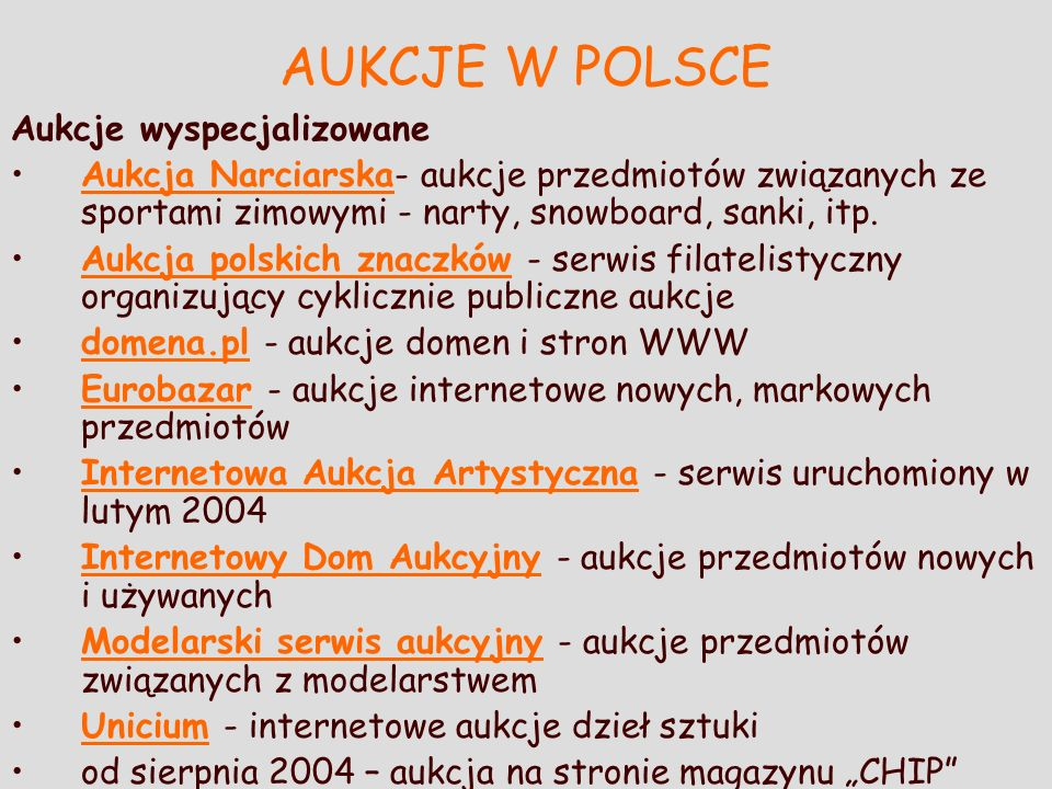AUKCJE W POLSCE Aukcje wyspecjalizowane