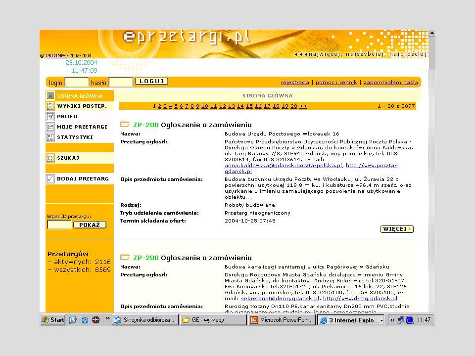 Powyżej przykład głównej strony www.eprzetargi.pl