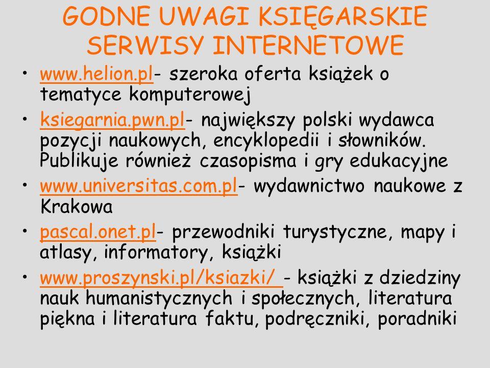 GODNE UWAGI KSIĘGARSKIE SERWISY INTERNETOWE