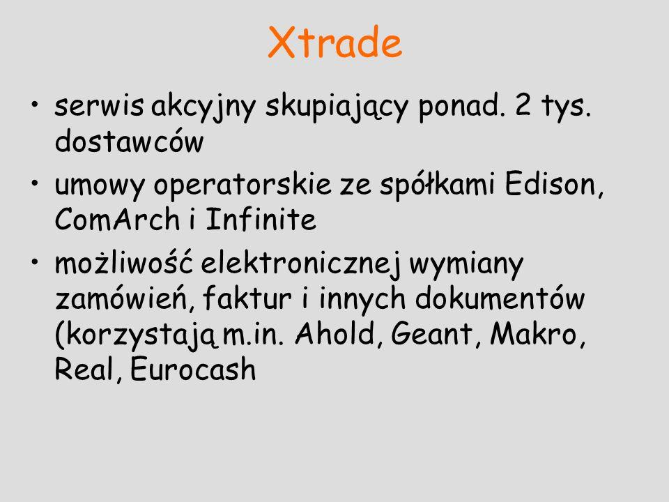 Xtrade serwis akcyjny skupiający ponad. 2 tys. dostawców