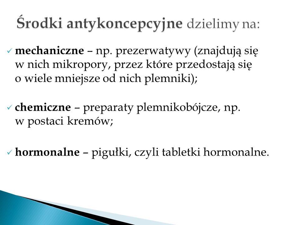 Środki antykoncepcyjne dzielimy na: