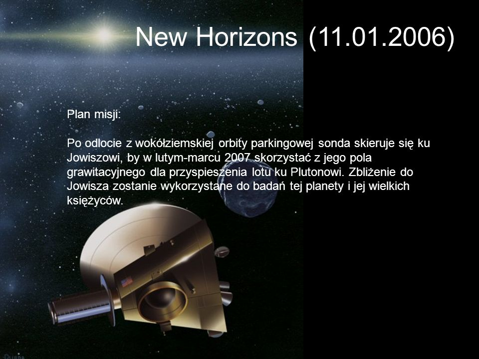 New Horizons (11.01.2006) Plan misji: