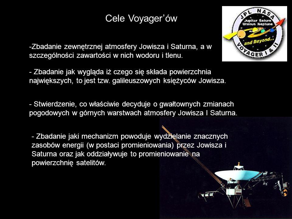 Cele Voyager'ów Zbadanie zewnętrznej atmosfery Jowisza i Saturna, a w szczególności zawartości w nich wodoru i tlenu.