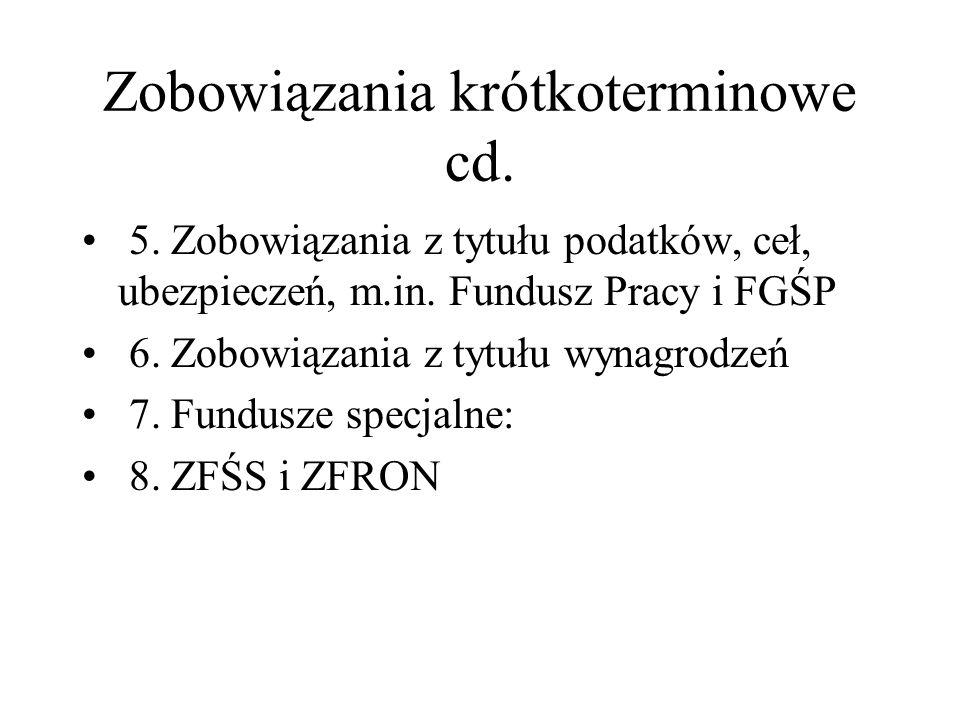 Zobowiązania krótkoterminowe cd.