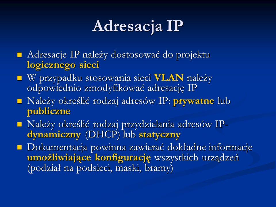 Adresacja IP Adresacje IP należy dostosować do projektu logicznego sieci.
