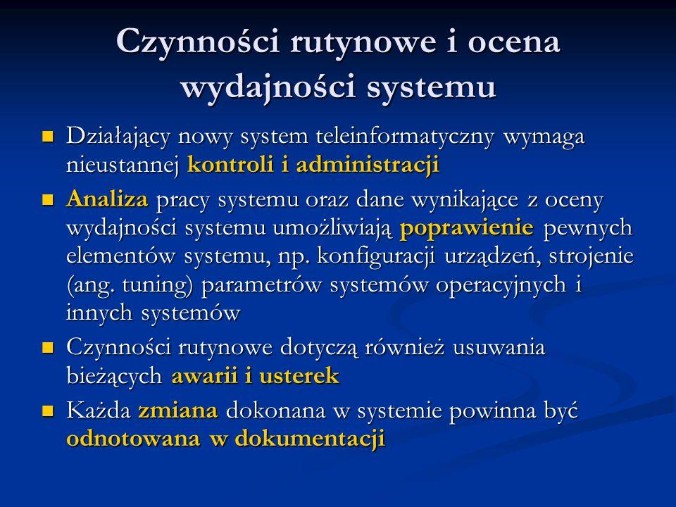 Czynności rutynowe i ocena wydajności systemu