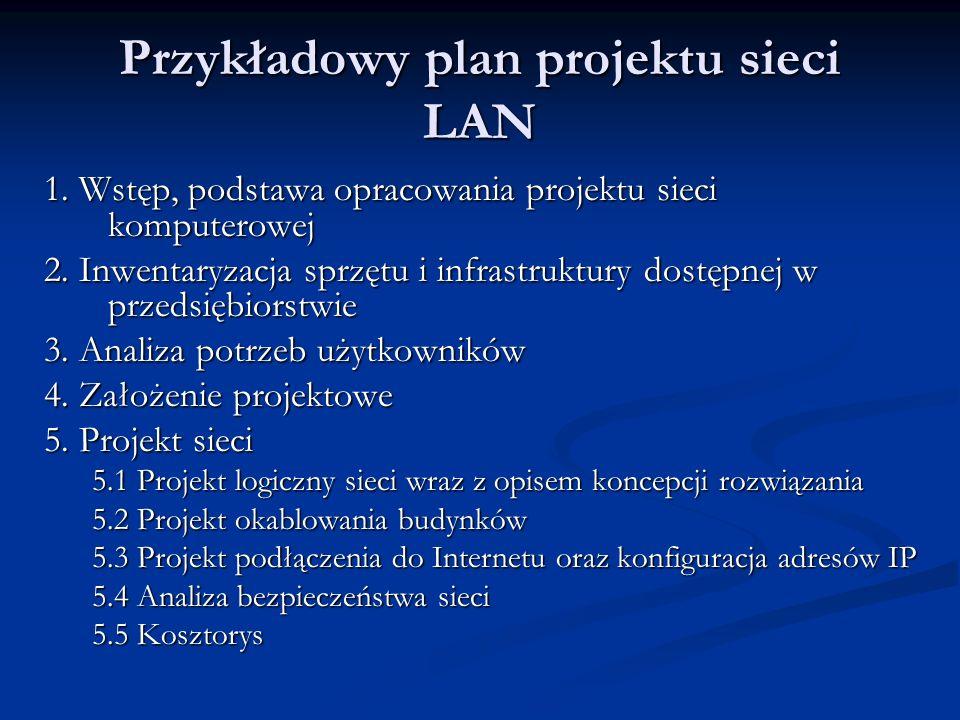 Przykładowy plan projektu sieci LAN