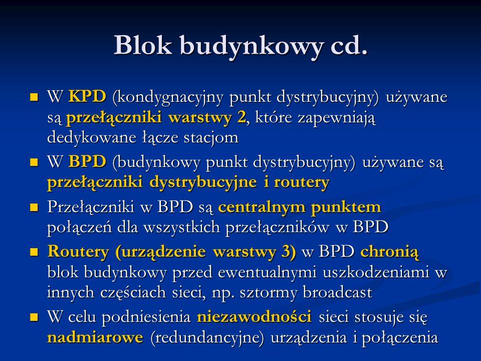 Blok budynkowy cd. W KPD (kondygnacyjny punkt dystrybucyjny) używane są przełączniki warstwy 2, które zapewniają dedykowane łącze stacjom.