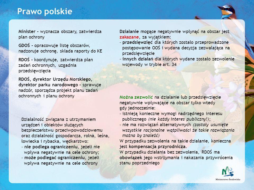 Prawo polskie Minister – wyznacza obszary, zatwierdza plan ochrony