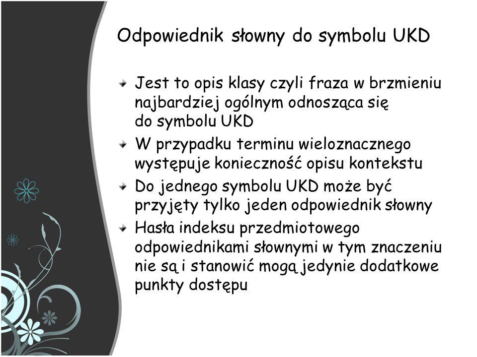 Odpowiednik słowny do symbolu UKD