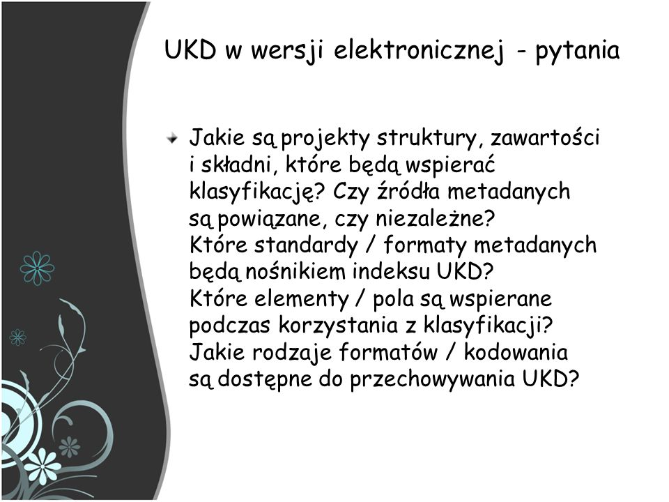 UKD w wersji elektronicznej - pytania